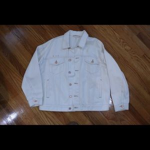 Free people white denim jacket. Oversized.
